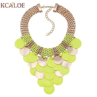 Fluorescent Color Statement Necklace Fashion Yellow Pink Round Slice Tassel Gold Plated Choker Bohemian Necklaces Collares