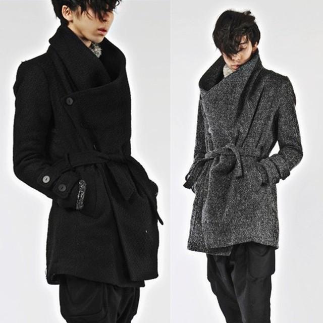 New outono inverno homens trench coat casaco de lã single-breasted dos homens cinto rua harajuku homens casuais trincheira engrossar outerwear A42