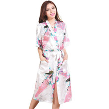 High Quality White Women's Silk Robe Gown Sexy Intimate Lingerie Vintage Kimono Kaftan Flower Pijamas S M L XL XXL XXXL Z007