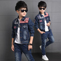 2017 Fashion Baby Boy Jean Clothing Set Stripe Pattern Singel-breasted Coat + Jeans Kid Denim Clothes Suit Children Spring 2pcs