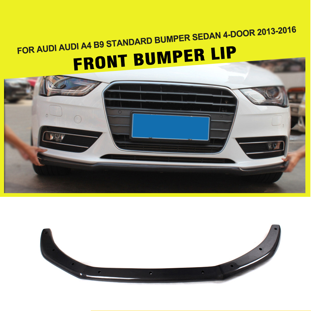Car-Styling Carbon Fiber Racing Front Lip Spoiler Chin Bumper Protector Apron for Audi A4 B9 Sedan 4-Door 2013 - 2016 image