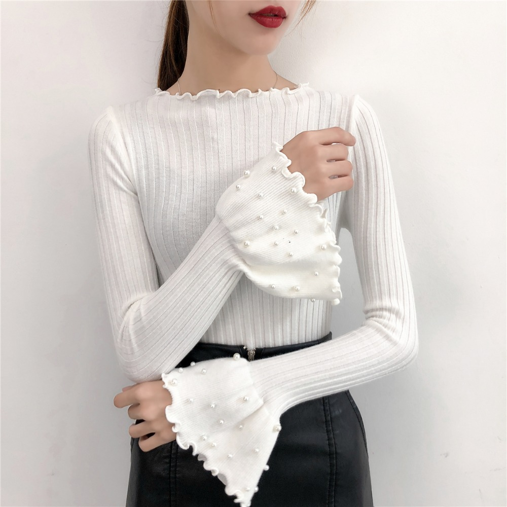 Gkfnmt Knitted Sweaters Pullover Female O-Neck Long-Sleeve Pink White Solid-Color Winter
