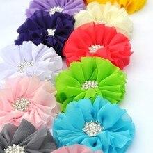 50 sztuk/partia 6.5 cm, 15 kolory puszyste Ballerina szyfonowa kwiaty + Rhinestone śnieg przycisk sztuczne tkanina w kwiaty dla dzieci opaski