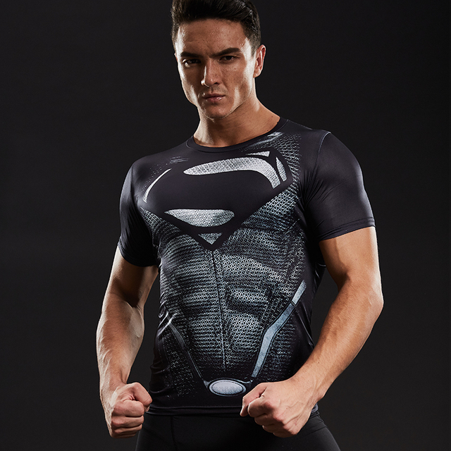 Superman 3D Printed T-shirts Men Compression Shirts Short Sleeve Funny Cosplay costume Fitness Body Building Male Crossfit Tops