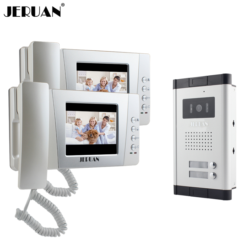 JERUAN New Apartment 4.3 inch LCD Video Door Phone  Intercom System 2 Monitor 700TVL IR Camera for 2 Household FREE SHIPPING