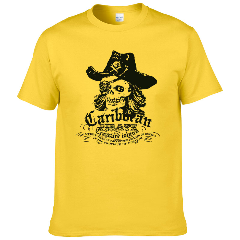 European Size Pirates of the Caribbean Printed T Shirt Men Summer Cotton Short Sleeve Men Cool Tee #085