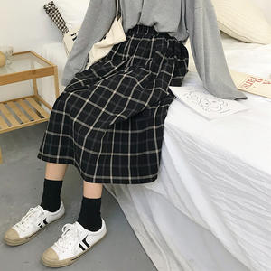 Plaid Skirt Tutu Long-Saias Pleated A-Line Elastic Big-Swing Midi Japan-Style Vintage