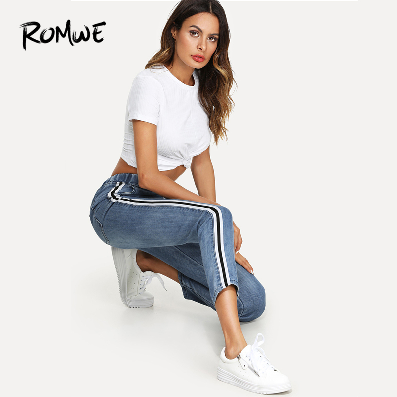 ROMWE Blue Stripe Contrast Drawstring Waist Pocket   Jeans   Spring Casual Women Low Waist Denim Tapered Carrot Regular Pants