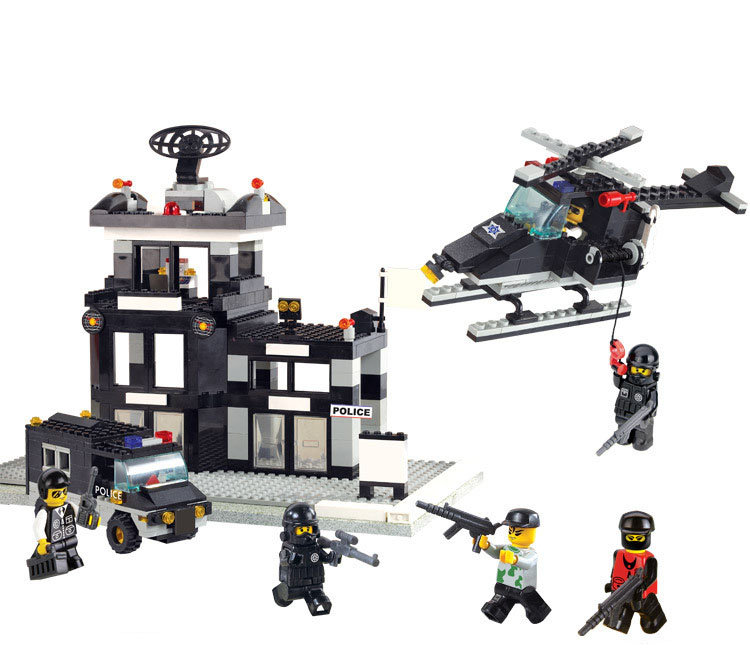 Models building toy 2200 SWAT Police Command Center Helicopter Jeep Building Blocks   city toys & hobbies