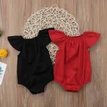 Pudcoco/горячая распродажа; милое летнее однотонное боди с рукавами-крылышками для новорожденных и маленьких девочек; цвет красный, черный; Возраст 0-24 месяца