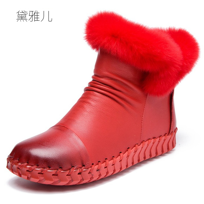 цена на Handmade Winter Keep Warm Lace-UP Zipper 2018 Heel Flat Ankle Boots for Women Genuine Leather Ladies Shoes Woman Girl Red Black