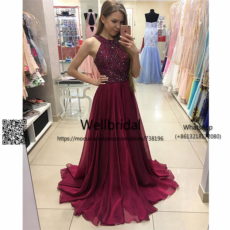 Burgundy 2017 Off Shoulder   Prom     Dresses   Long with Crystals Beaded Draped Chiffon Evening   dress   Formal Long Women   Prom   Gown
