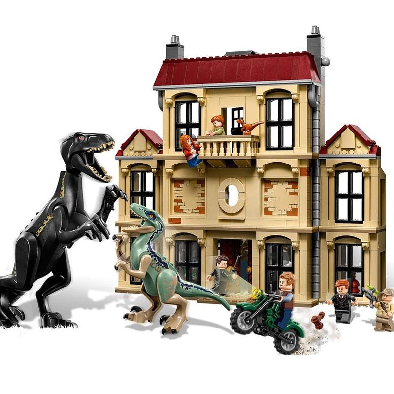 Monde jurassique 2 Indoraptor Saccage À Lockwood Immobilier Building Block Briques Jouets Compatible Legoings Dinosaure Film