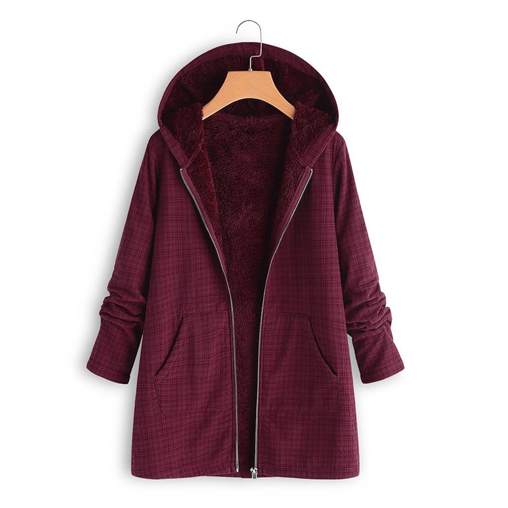 Fashion spring jacket womens winter warm outwear lattice hooded pockets vintage coats outerwear hooded jackets plus size m-5xl