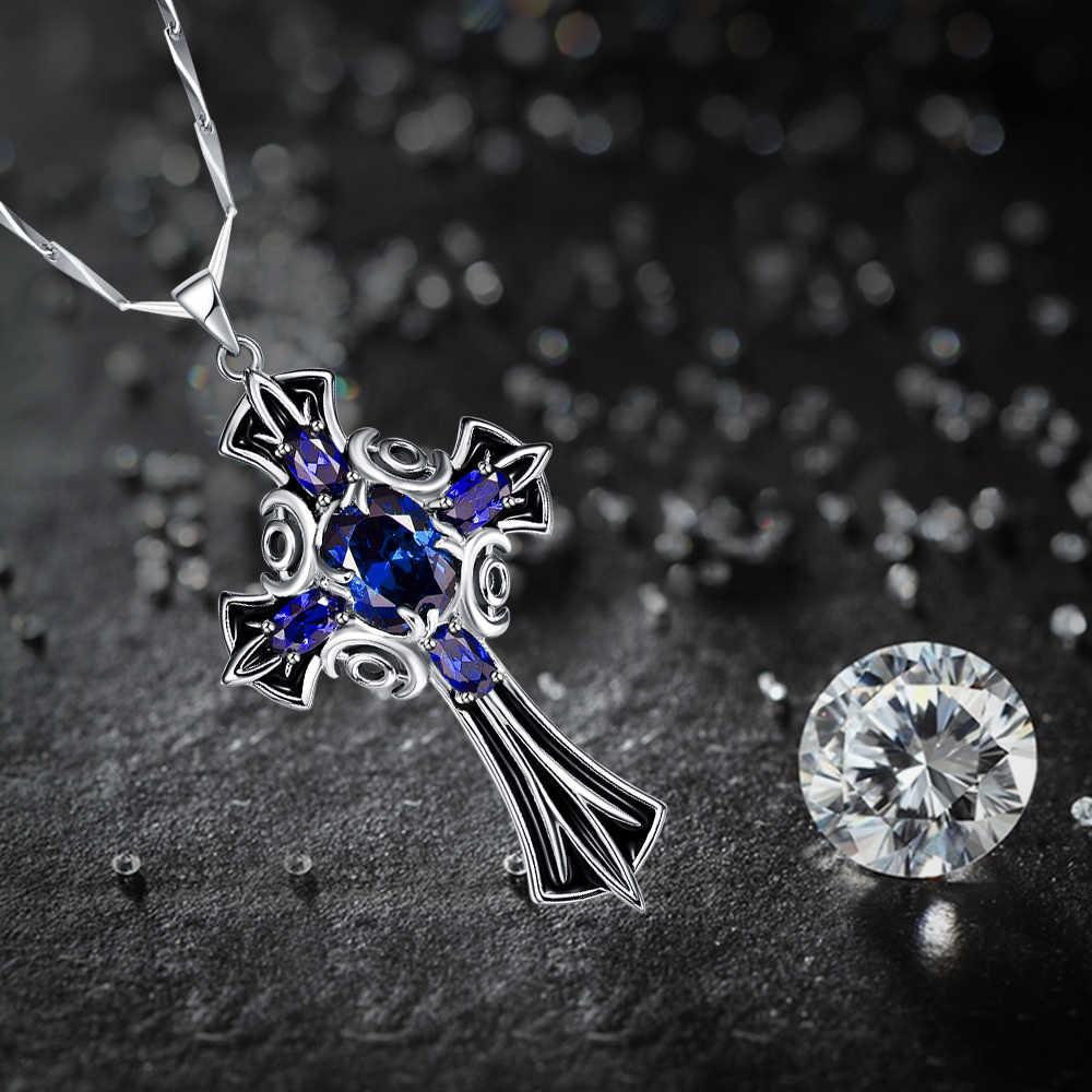 JC Nữ Rực Rỡ Mặt Dây Chuyền Chữ Thập Thiết Kế Oval Sapphire Tanzanite Topaz Rắn 100% 925 Sterling Silver Vòng Cổ Trang Sức Mỹ