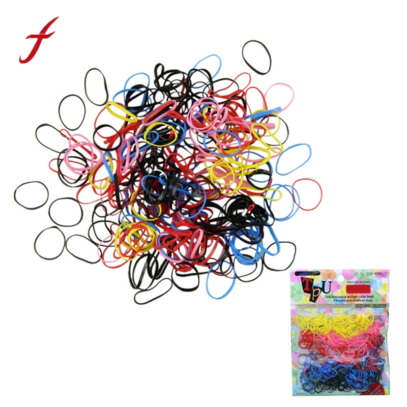 feitong 2017 New 500pcs/lot Rubber Hairband Dress Rope Ponytail Holder Elastic Hair Band Ties Braids for GirlsDrop Shipping high quality 5pcs set summer girl print elastic hair band cute rubber band knot hair rope women hair accessories ponytail holder
