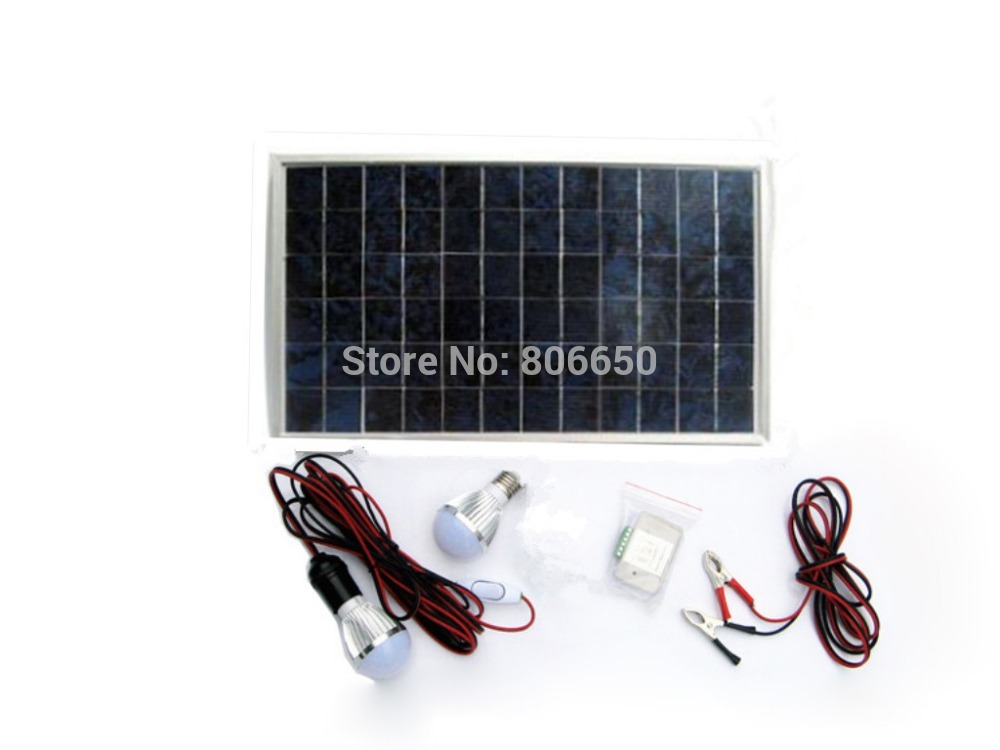 ФОТО 10w solar panel powered LED light solar system, with 3A charge controller and 2 pcs 5w LED lamps