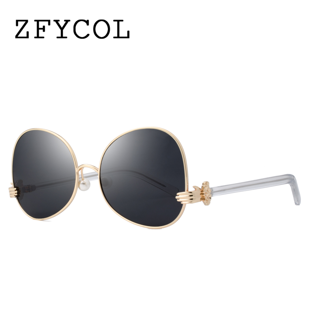 ZFYCOL 2017 Newest Sunglasses Women Finger Hinge Irregular Brand Designer Fashion Pearl Nose Pads Shades Sun glasses Female