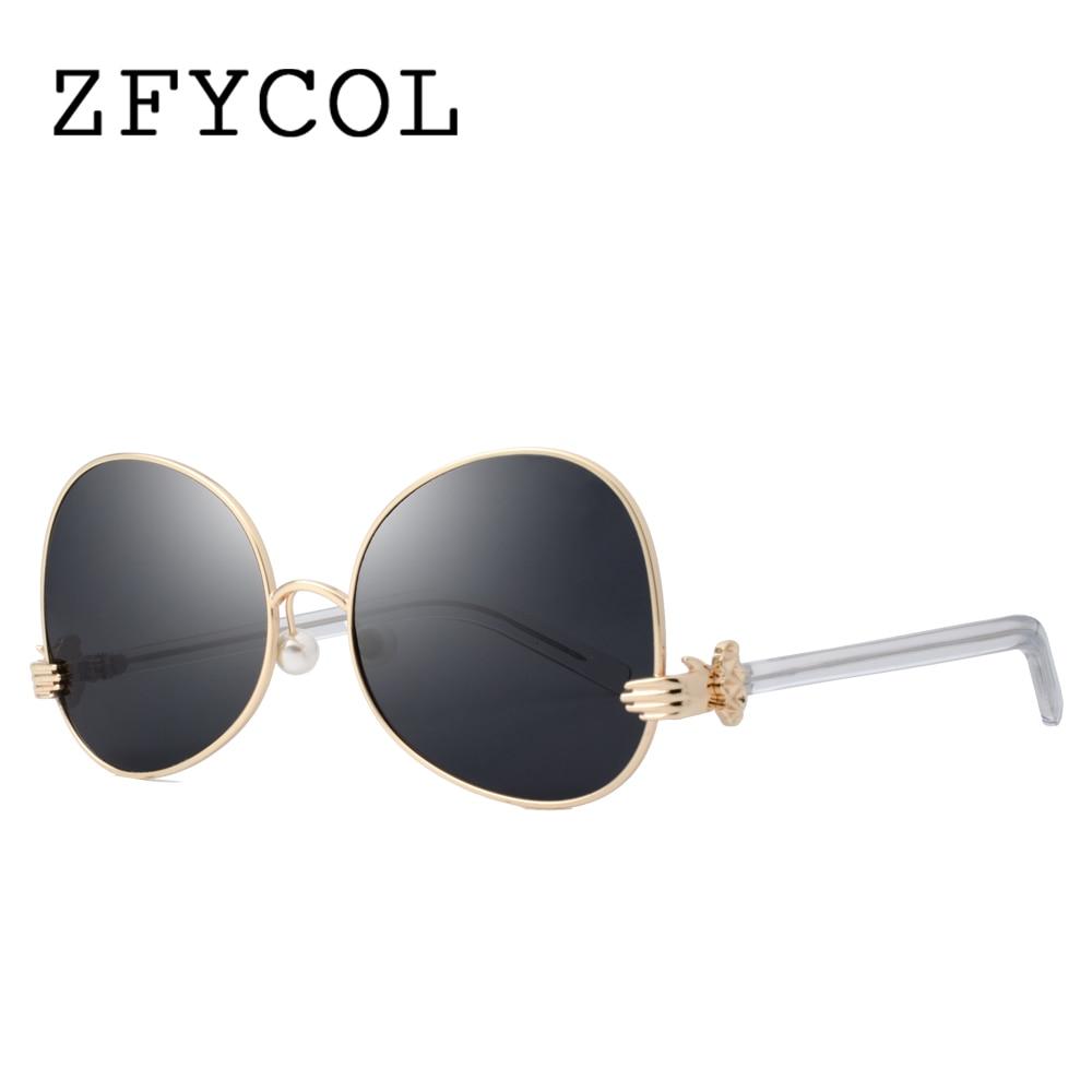 ZFYCOL 2017 Newest Sunglasses Women Finger Hinge Irregular Brand Designer Fashion Pearl Nose Pads Shades Sun glasses Female