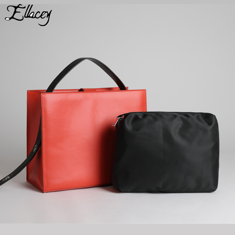 Ellacey New 2018 OL Genuine Leather Bags Women Brief Fashion Leather Handbag Office Ladies Solid Large Casual Totes Shoulder Bag guapabien fashion trapeze handbag women pu leather metal lock mini bag solid black gray ol dress shoulder bag for ladies