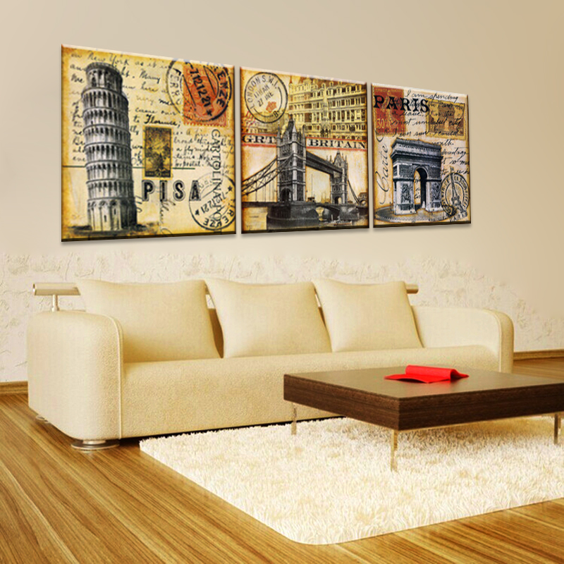 Vintage home decoration wall art 3 piece print canvas oil painting ...
