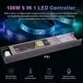 MiLight 100 Вт 5 в 1 светодиодный контроллер встроенный источник питания 2 4G RF/WIFI APP/alexa Голосовое управление для 24 в RGB RGBW RGB + CCT Светодиодная лента