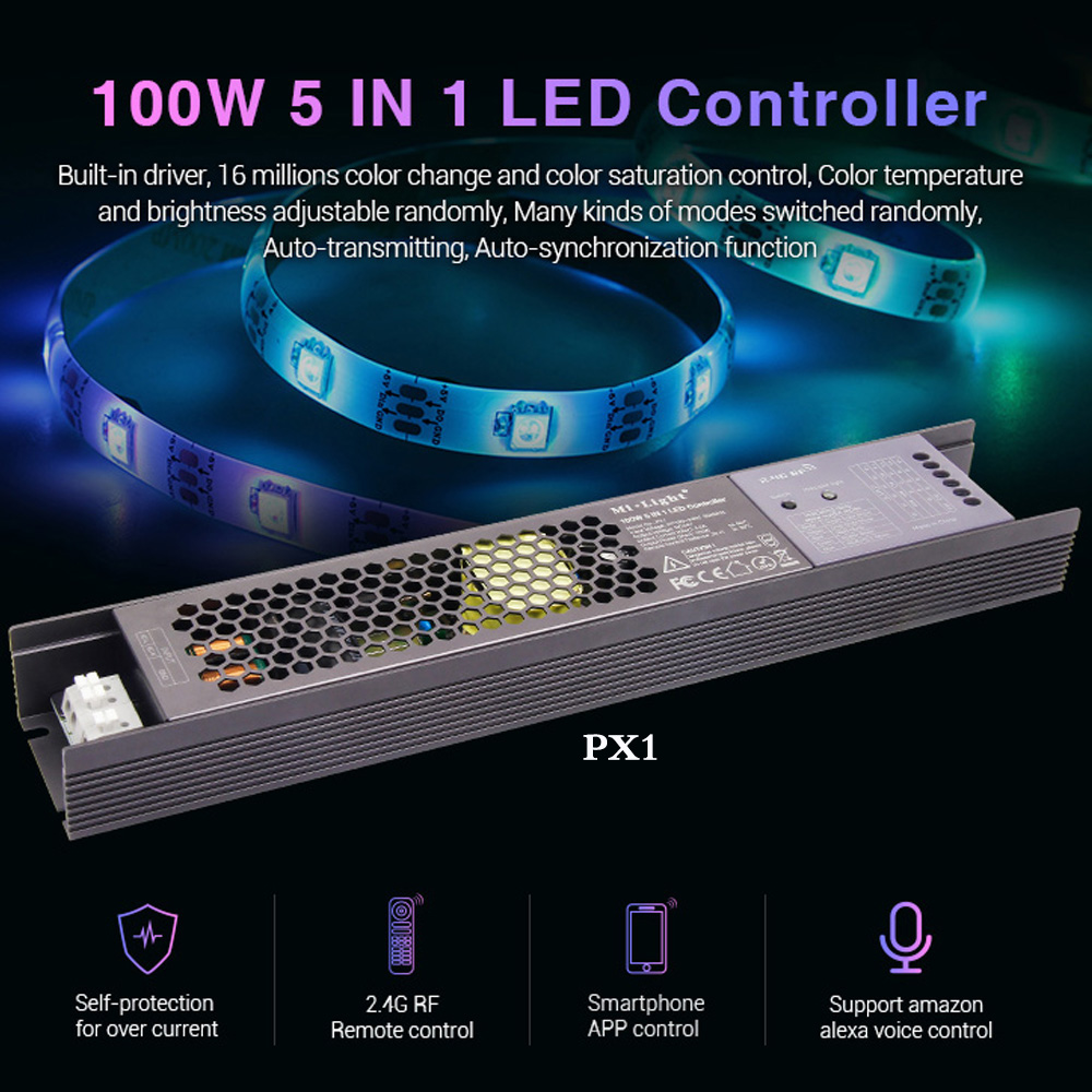 MiLight 100W 5 IN 1 LED Controller Built-in power supply 2 4G RF/WIFI  APP/alexa voice control for 24V RGB RGBW RGB+CCT LED strip
