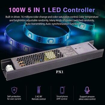 MiLight 100W 5 en 1 LED controlador de fuente de alimentación incorporada 2,4G RF/WIFI/APP/voz alexa control de 24V RGB RGBW RGB + AAC tira de LED