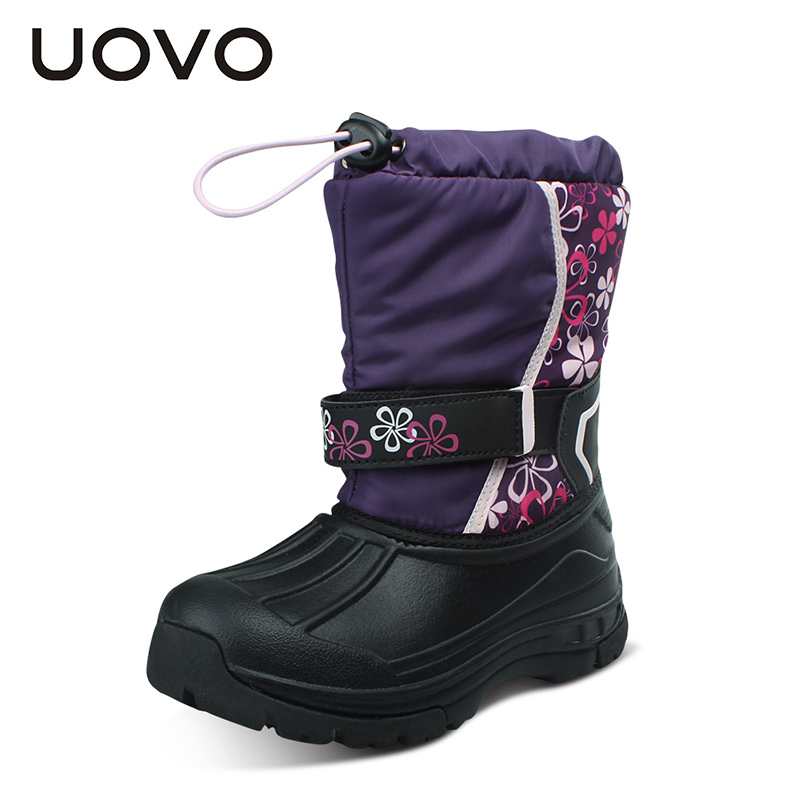 UOVO Kids Snow Boots Girls Boys Snow Boots Flower Fashion Winter Shoes Children Boots uovo children winter shoes kids fox fur walking shoes girls snow shoes mid cut footwear for kids winter hiking boots for girls