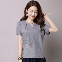 Women Ethnic Blouses Summer Short Sleeve Linen Blouse Plus Size Korean Fashion Casual Clothing Ladies Tops Blusas Feminina