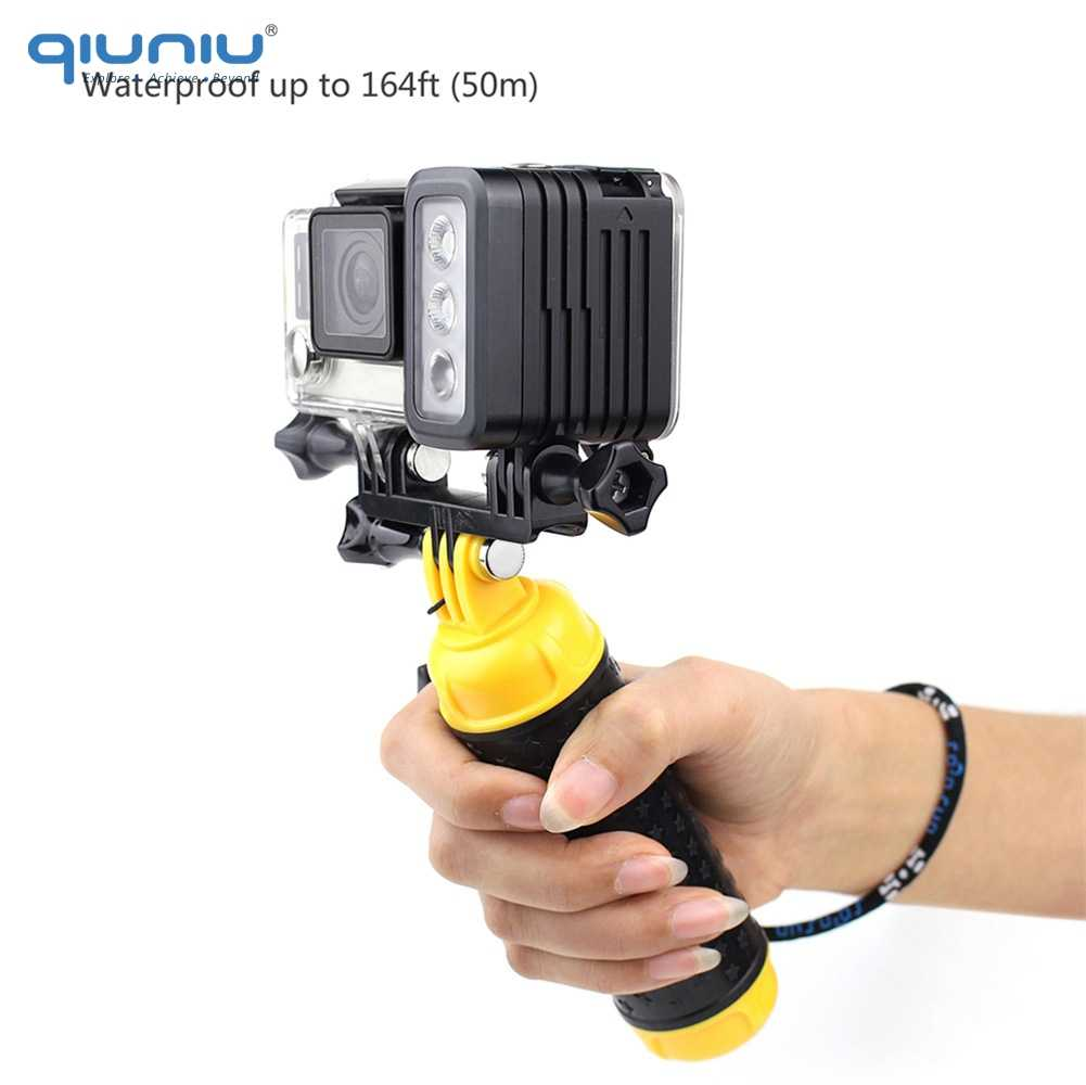 QIUNIU 50M מתחת למים צלילה LED אור עמיד למים למלא אור עבור GoPro גיבור 8 7 6 5 4 עבור DJI אוסמו פעולה עבור Canon מצלמות DSLR
