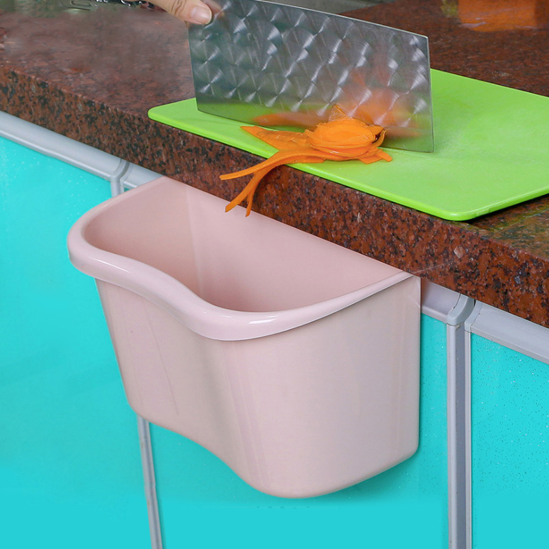 ANHO Kitchen Storage Basket Door Hanging Trash Can PP Container Simple Garbage Storage Case