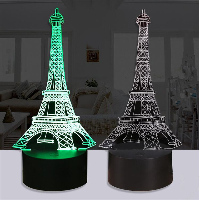 Novelty 3D Visual Led Night Lights Tower Desk Night Lamp Remote USB Table Lampara Baby Sleeping Nightlight Battery Luminaire novelty led night light wireless remote control dimmable night lamp rgb kids children desk table lights usb 5v
