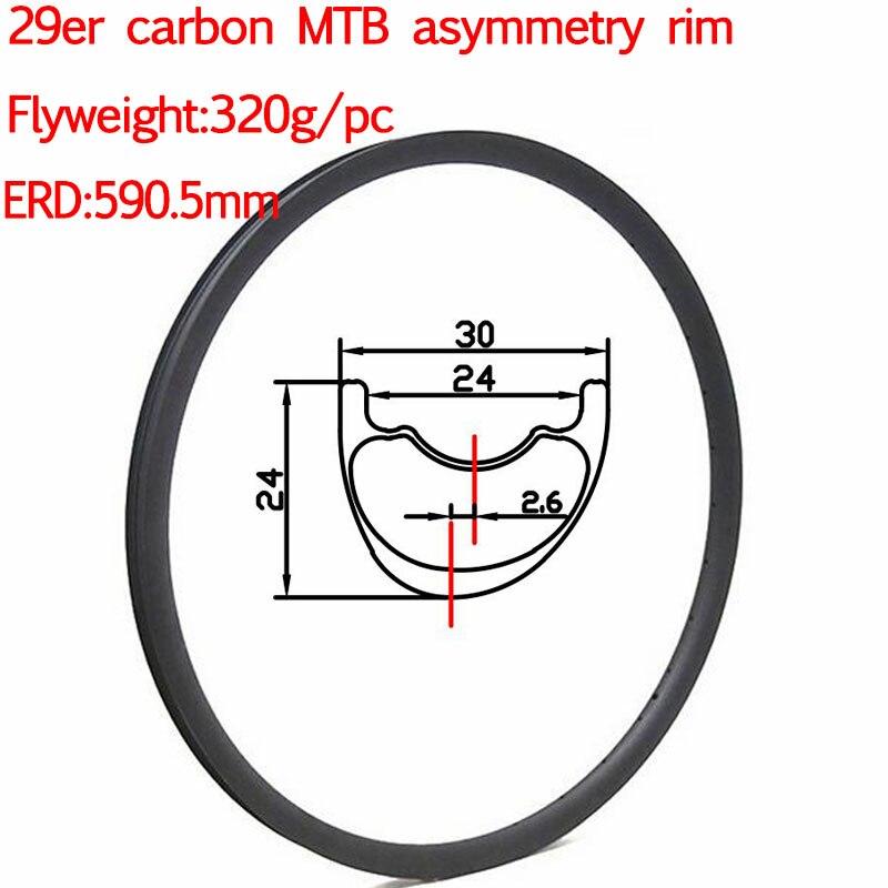 Flyweight carbon 29mtb rim asymmetric hookless clincher chinese carbon mtb rims width 30mm tubeless mtb wheel rims 700c