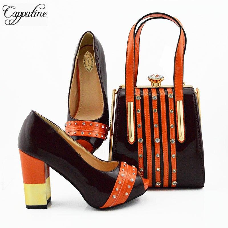 Włoski styl Rhinestone buty i pasująca torba zestaw lato moda damskie szpilki buty i torba zestaw dla sukienka na imprezę MD010 w Buty damskie na słupku od Buty na  Grupa 3