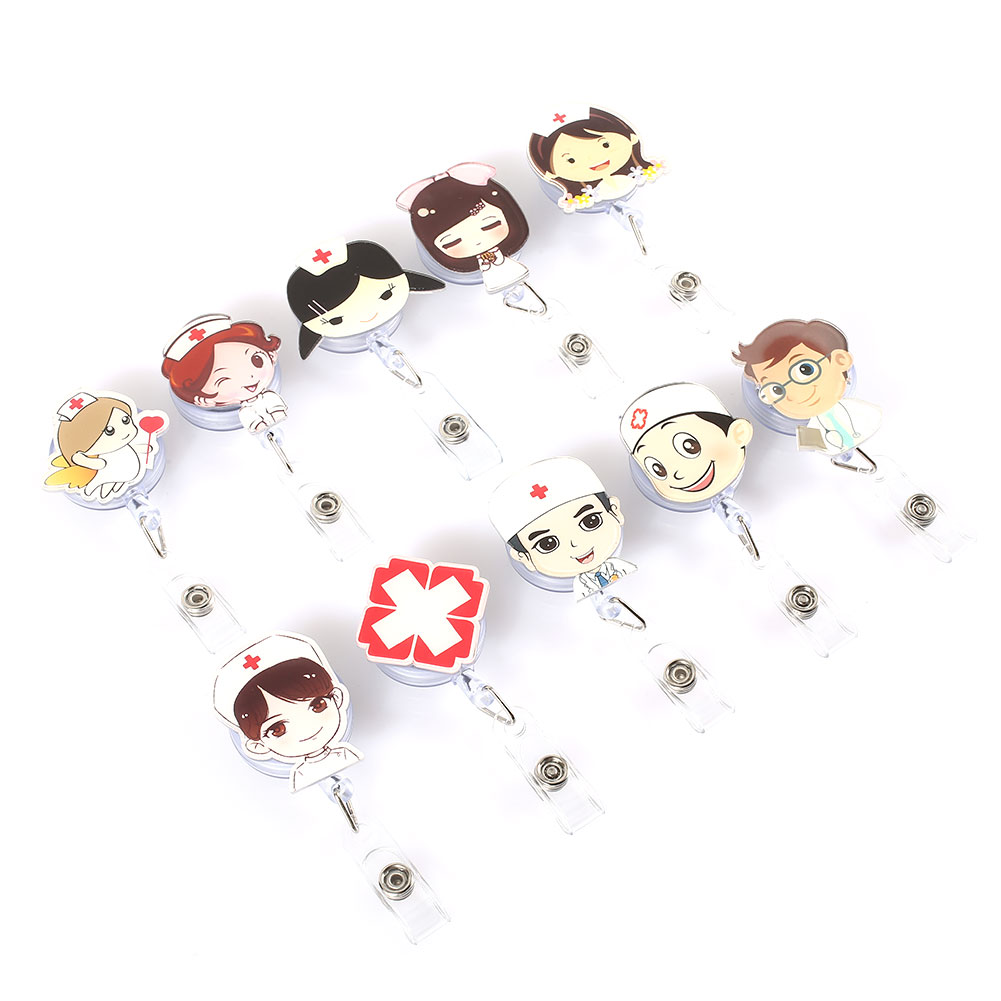 Cobee Cute Retractable Badge Holder Reel Student Nurse Exhibition ID Enfermera Name Card Badge Holder Office Stationery Supply new exhibition cards id badge holder name tag staff business card cover badge holders school office stationery supplies