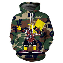 Brand new foreign trade spot 3d printing large size spring and autumn fashion camouflage Simpson men/boy thin hoodie sweatshirt