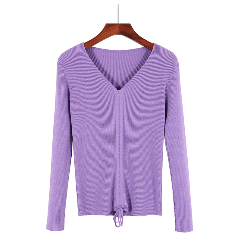GOPLUS Autumn Winter Lace up Knitting Sweaters Women Sexy V Neck Slim Long Sleeve Elasticity Jumper Solid Pullovers Female Top 19