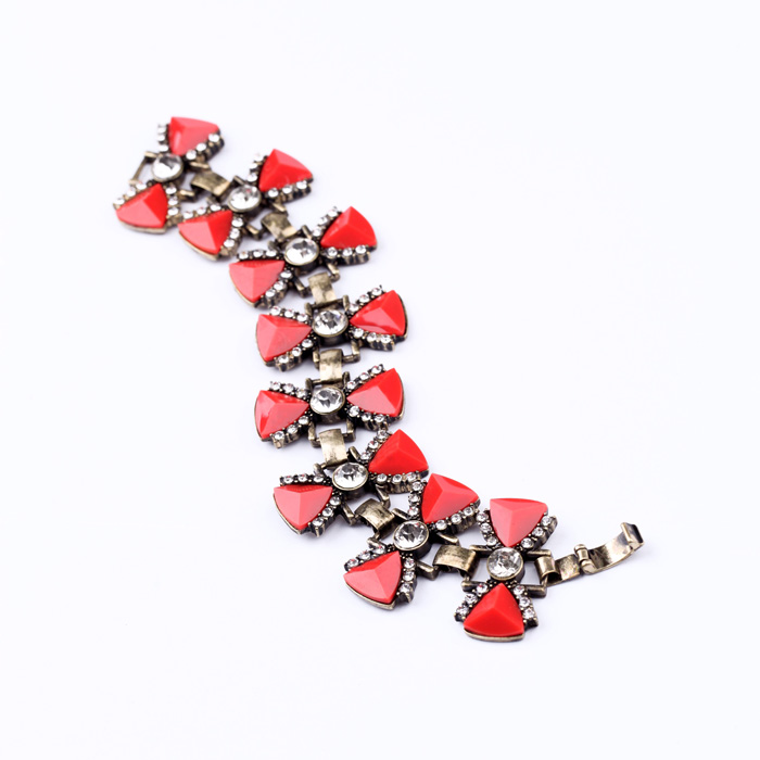 JOOLIM Jewelry Wholesale/ Luxury Gorgeous VIntage Red Bow Charm Bracelet Design jewelry