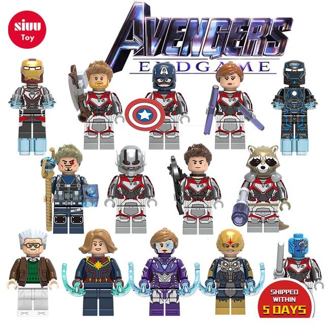 Vingadores: Endgame LEGOLY Marvel Thanos Único Modelo de Blocos de Construção de mini tijolos Hulk Homem De Ferro Homem Aranha Figuras Brinquedos para As Crianças