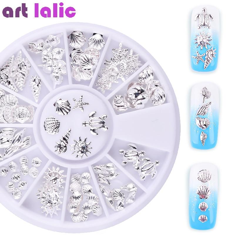 12 Grid Nail Art Ocean Theme Metal 3D Studs Beads Gel Polish Sea Starfish Shell Hippocampal Slice Flakes Decoration
