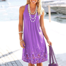 цены на summer new women's floral dress print sleeveless loose dress Europe and America casual large size S-3XL-5XL dress в интернет-магазинах