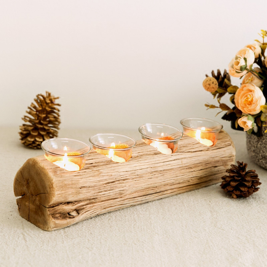 Nordic Creative Candle Holder Wood Large Votive Wooden Candlestick Zen Garden Wedding Flower Stands Candelabro Madera 50KO261 in Candle Holders from Home Garden