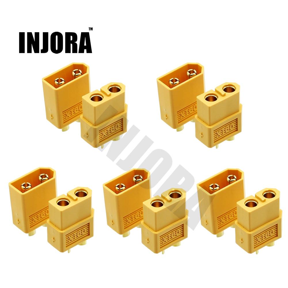 INJORA 5 Pairs XT60 XT-60 Male Female Bullet Connectors Plugs For RC Car Drone Lipo Battery xt60 10 pairs male female bullet connectors plugs for rc lipo battery