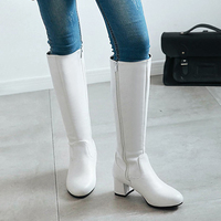 Large Sizes 31 45 Fashion Knee High Boots Chunky Heels Add Warm Plush Winter Riding Boots Women Shoes Woman Black White