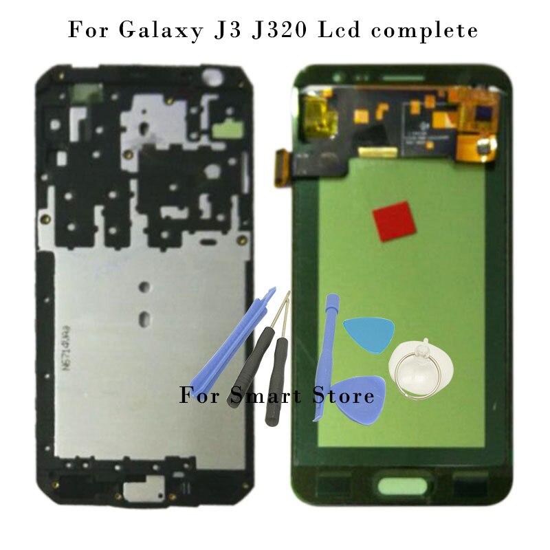imágenes para Prueba del 100% Para Samsung Galaxy J3 J320 J320A J320F J320M Pantalla LCD con Pantalla Táctil Digitalizador Asamblea Frame + Herramientas