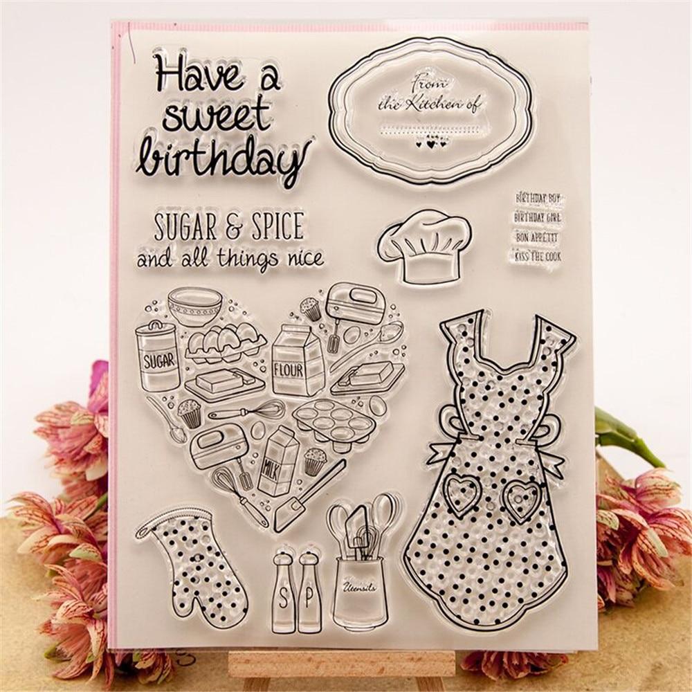 Stipt Nieuwe Mode Schort Voedsel Transparant Clear Siliconen Stempel/zegel Voor Diy Scrapbooking/fotoalbum Decoratieve Stempel