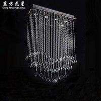 Luxury Crystal Hanging Light Rectangular Restaurant Crystal Pendant Lamp Bar Lighting