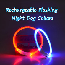 Rechargeable Flashing Night Dog Collars USB Charging Luminous Puppy Collar Led Light Glow Pet Dog Collar With Usb Cable Charging(China)