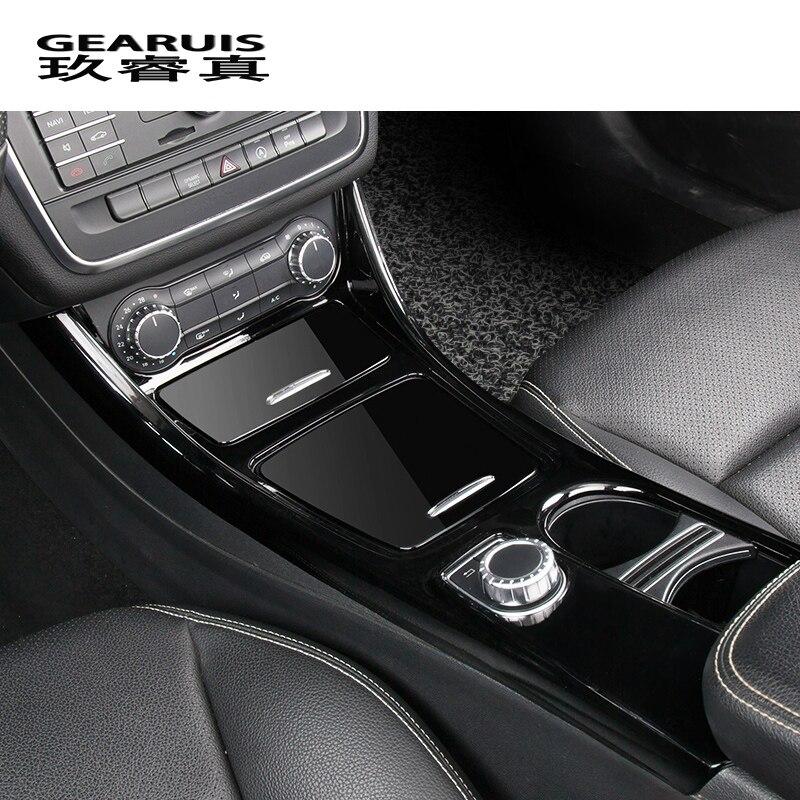 Estilo do carro decoração Adesivo de Controle Central Para Mercedes Benz CLA C117 GLA X156 Xícara de Água De Armazenamento painel guarnição auto Acessórios